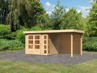 Karibu Woodfeeling Gartenhaus Kerko 3 natur mit 2,40 m Anbaudach, Rückwand