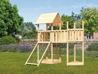 Akubi Spielturm Lotti Satteldach + Schiffsanbau oben + Anbauplattform + Netzrampe
