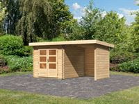 Karibu Woodfeeling Gartenhaus Bastrup 4 mit Schleppdach 2 Meter, Rück- und Seitenwand