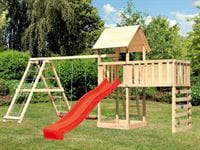 Akubi Spielturm Lotti Satteldach + Rutsche rot + Doppelschaukel Klettergerüst + Anbauplattform XL + Kletterwand