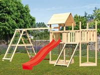 Akubi Spielturm Lotti Satteldach + Schiffsanbau oben + Anbauplattform + Doppelschaukel mit Klettergerüst + Netzrampe + Rutsche in rot