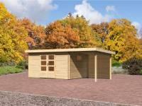 Karibu Aktions Gartenhaus Rastede 5 inkl. Fußboden und Anbaudach 2,2 m inkl. Rückwand