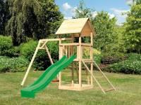 Akubi Spielturm Lotti mit Einzelschaukel, Netzrampe und Rutsche grün