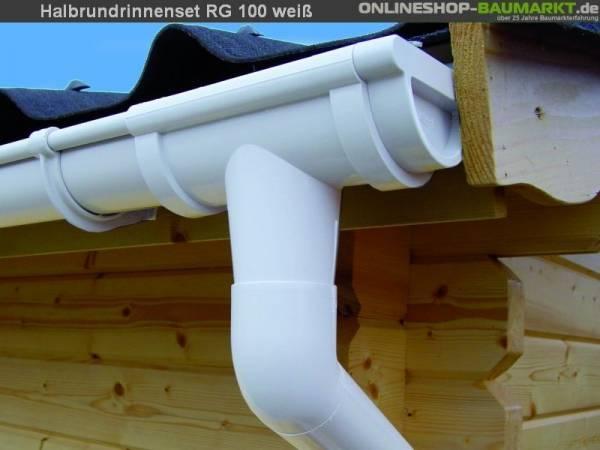 Dachrinnen Set RG 100 weiß 500 cm zweiseitig