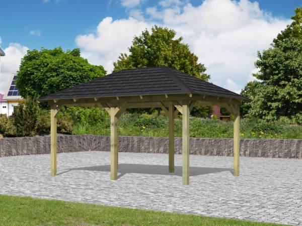 Karibu Aktions 4-Eck Pavillon Arcazia 1 inkl. H-Pfostenanker und Schindeln