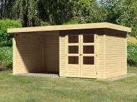 Karibu Woodfeeling Gartenhaus Askola 2 mit Anbaudach 2,75 Meter, Seiten- und Rückwand