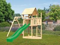 Akubi Spielturm Lotti Satteldach + Schiffsanbau oben + Einzelschaukel + Netzrampe + Rutsche in grün