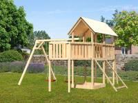 Akubi Spielturm Danny Satteldach + Doppelschaukel + Anbauplattform XL + Netzrampe