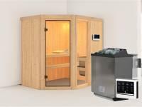 Fiona 1 - Karibu Sauna inkl. 9-kW-Bioofen - ohne Dachkranz -