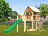 Akubi Spielturm Danny Satteldach + Rutsche grün + Anbauplattform XL + Netzrampe