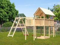 Akubi Spielturm Danny Satteldach + Doppelschaukel Klettergerüst + Anbauplattform XL