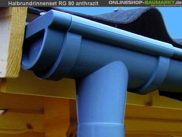 Dachrinnen Set RG 80 anthrazit 4 x 350 cm Walmdach
