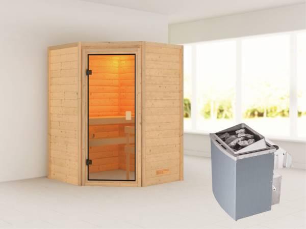 Karibu Sauna Antonia mit 4,5 kW Ofen integr. Strg ohne Dachkranz