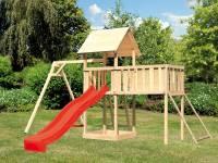 Akubi Spielturm Lotti Satteldach + Rutsche rot + Einzelschaukel + Anbauplattform XL + Netzrampe