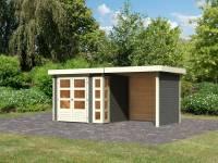 Karibu Woodfeeling Gartenhaus Kerko 3 in terragrau mit 2,40 m Anbaudach und Rück-und Seitenwänden