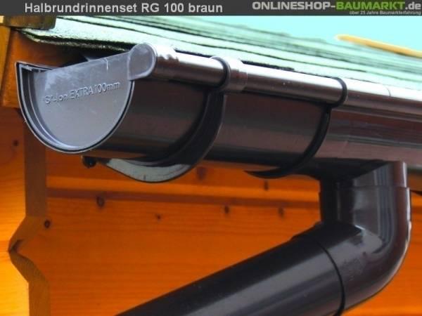 Dachrinnen Set RG 100 braun 600 cm zweiseitig