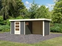 Karibu Woodfeeling Gartenhaus Oburg 3 terragrau mit Anbaudach 2,8 Meter inkl. Rück- und Seitenwand