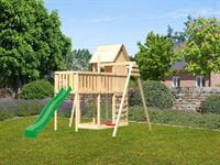 Akubi Stelzenhaus Frieda + Rutsche grün + Einzelschaukel + Anbauplattform XL + Kletterwand