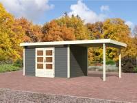 Karibu Aktions Gartenhaus Emden 7 in terragrau mit Fußboden und Anbaudach 2,60 Meter