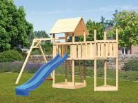 Akubi Spielturm Lotti Satteldach + Schiffsanbau oben + Anbauplattform + Einzelschaukel + Rutsche in blau