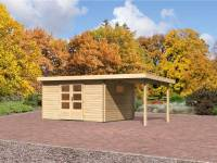 Karibu Aktions Gartenhaus Rastede 5 natur mit Fußboden und Anbaudach 2,2 m