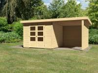 Karibu Woodfeeling Gartenhaus Kandern 6 mit Anbaudach 2,35 Meter inklusive Rück-und Seitenwand