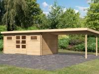 Karibu Gartenhaus Bastrup 10 inkl. Fußboden und Anbaudach 4 m