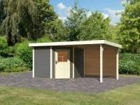 Karibu Woodfeeling Gartenhaus Neuruppin 2 terragrau mit Anbaudach 2,6 m inkl. Rück- und Seitenwand