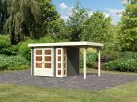 Karibu Woodfeeling Gartenhaus Kerko 3 in terragrau mit 1,5 m Anbaudach