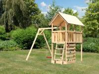 Akubi Spielturm Danny Satteldach + Einzelschaukel + Kletterwand
