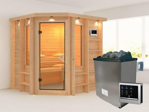 Cortona - Karibu Sauna Premium inkl. 9-kW-Ofen