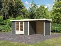 Karibu Gartenhaus Askola 4 in terragrau mit Anbaudach 2,40 Meter inkl. Rück-und Seitenwand