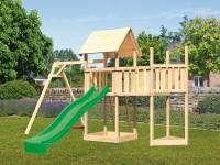 Akubi Spielturm Lotti Satteldach + Schiffsanbau oben + Anbauplattform + Einzelschaukel + Rutsche in grün