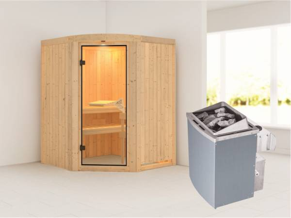 Karibu Sauna Asmada- 4,5 kW Ofen integr. Strg- Rundbogen