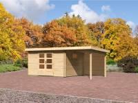 Karibu Gartenhaus Rastede 4 inkl. mit Fußboden und Anbaudach 2,2 m mit Rückwand