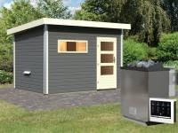 Karibu Saunahaus Skrollan 2 in terragrau- 9 kW Bioofen ext. Strg- moderne Tür