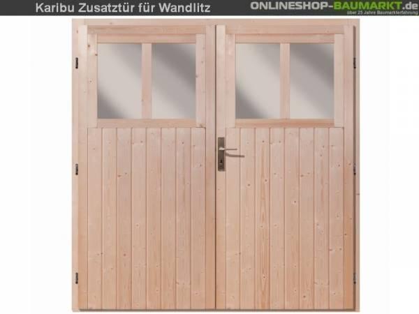 Karibu Doppeltür für Gartenhaus Wandlitz natur