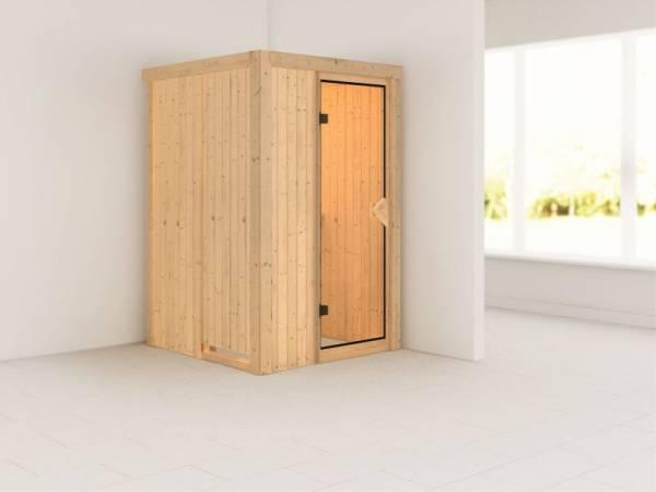 Lenja - Karibu Sauna Plug & Play ohne Ofen - ohne Dachkranz - Klarglas Ganzglastür