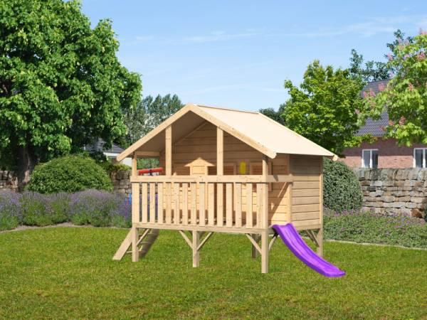Akubi Spielhaus Maxi Sparset mit violetter Rutsche