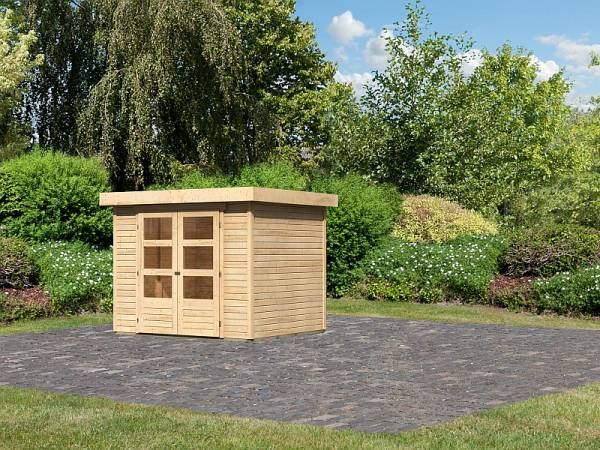 Karibu Woodfeeling Gartenhaus Askola 3 natur 19 mm