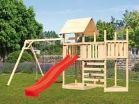 Akubi Spielturm Lotti Satteldach + Schiffsanbau oben + Anbauplattform + Doppelschaukel + Kletterwand + Rutsche in rot