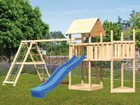 Akubi Spielturm Lotti Satteldach + Schiffsanbau oben + Anbauplattform + Doppelschaukel mit Klettergerüst + Rutsche in blau
