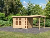 Karibu Woodfeeling Gartenhaus Kerko 4 natur mit Anbaudach 2,40 m