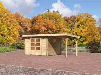 Karibu Aktions Gartenhaus Rastede 3 natur mit Dacheindeckung, Fußboden und Anbaudach 2,2 m