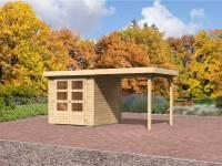 Karibu Aktions-Gartenhaus Jever 2 mit Anbaudach 2,40 Meter