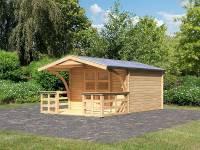 Karibu Gartenhaus Bayreuth 4 mit Vordach und Terrasse