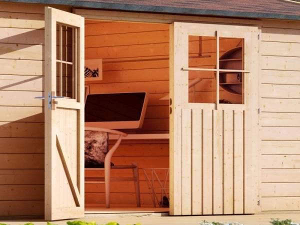 Karibu Doppelflügeltür für 38 und 40 mm natur