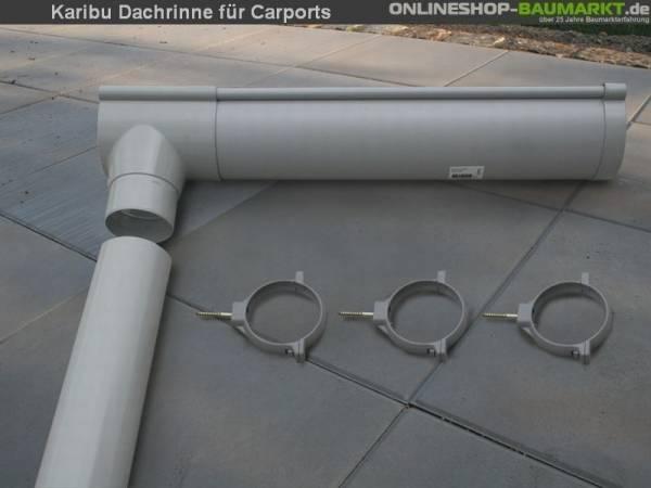 Karibu Dachrinnenpaket für Einzelcarport 3 Meter