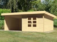 Karibu Woodfeeling Gartenhaus Northeim 3 naturbelassen mit Schleppdach 3,0 Meter, Seiten- und Rückwand