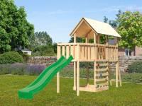 Akubi Spielturm Danny Satteldach + Rutsche grün + Anbauplattform + Kletterwand